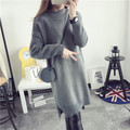 Casual Knitted Sweater Dress Women Long Sleeve Loose Sweater Dress Medium Long Split Knit Dress DX832