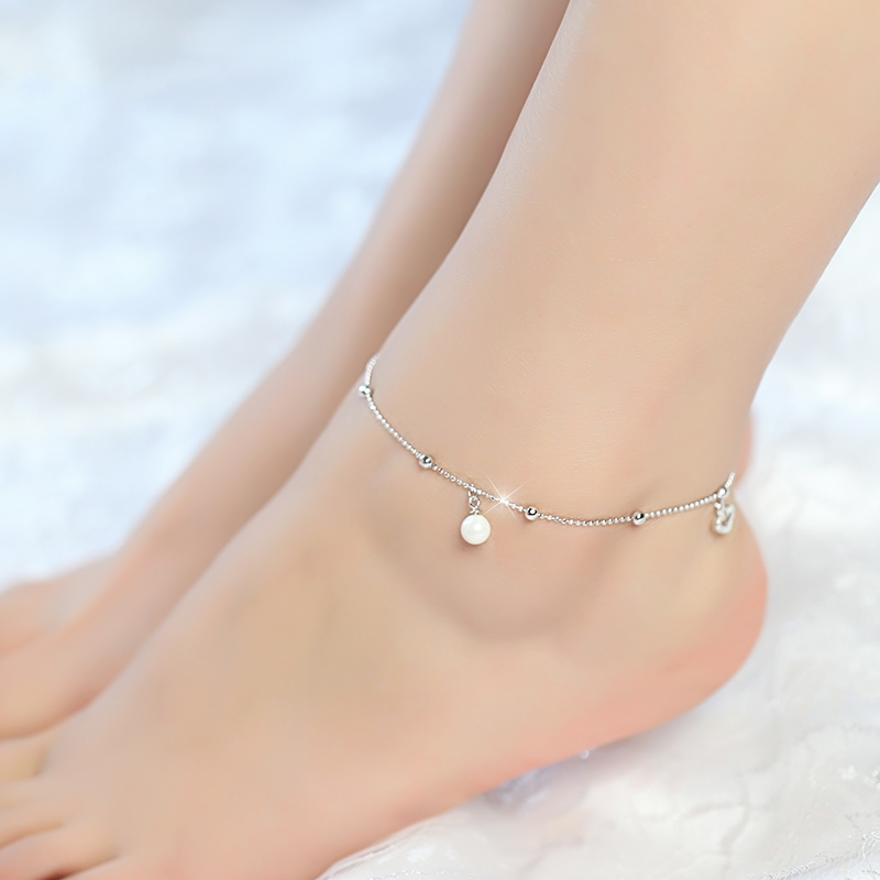 925 Sterling Silver Simulated preal Simplicity Anklets Women Fashion Brand Jewelry Accessories SA052