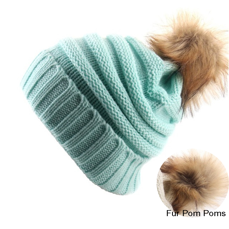 Fashion Female Fur Pom Poms Hat Winter Hat For Women Girls Warm Hat Knitted   Beanies   Cap Hat Thick Women   Skullies     Beanies
