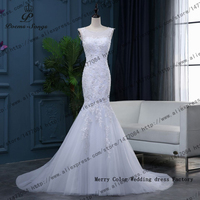 100 Real Photo Luxurious Custom Made Lace Flowers Mermaid Wedding Dress Sexy Lace Backless Dresses Vestido