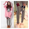 Striped pencil cartoon printed soft pants for women estredtched  leggings for pregnant woman Cotton trousers size XL  2017 HOT