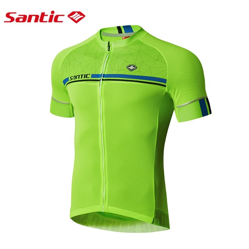 fc45c9d75 Santic Men Cycling Short Jersey Pro Fit Four Colors Antislip Sleeve Cuff  Road Bike MTB Short Sleeve Top Riding Shirt M7C02107-in Cycling Jerseys  from Sports ...