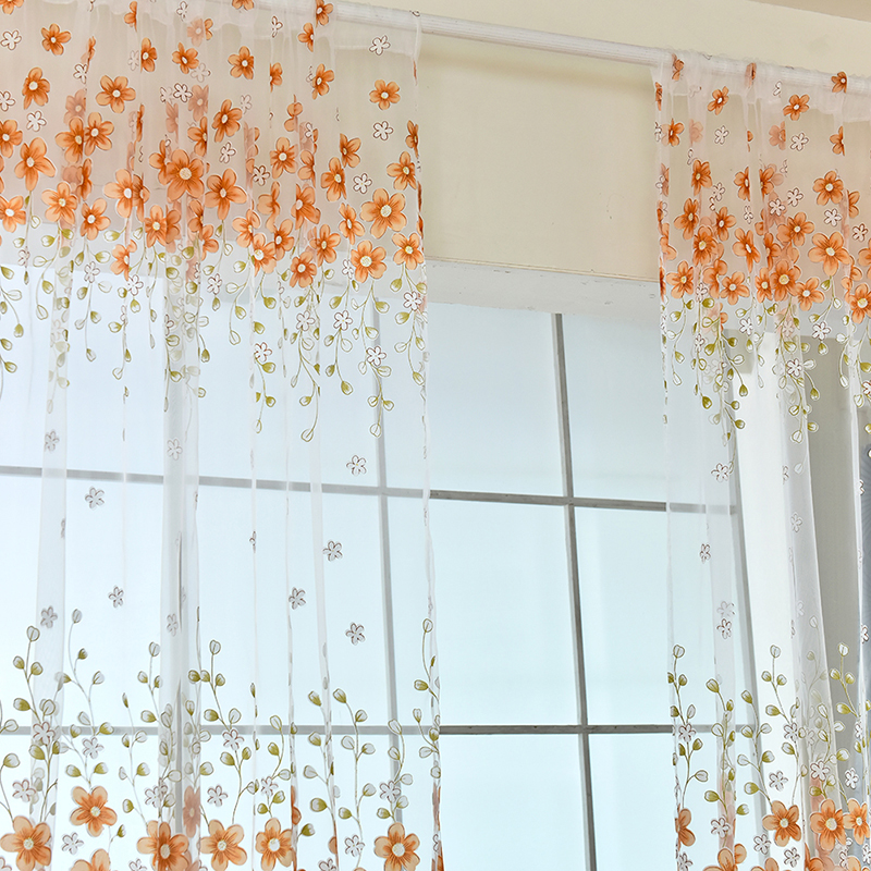 Curtains flower Printed Voile Bay Window office Pastoral Curtains Green Pink ...