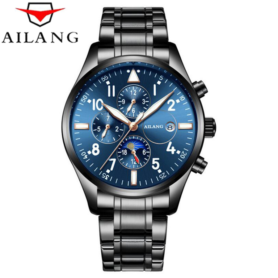 Watches Men Automatic Mechanical Watch Luxury Brand Full Steel Business Men's Watches Date Clock relojes hombre Waterproof 50M ailang tourbillon automatic mechanical watch men s waterproof 50m army sport watches men full steel luminous clock reloj hombre