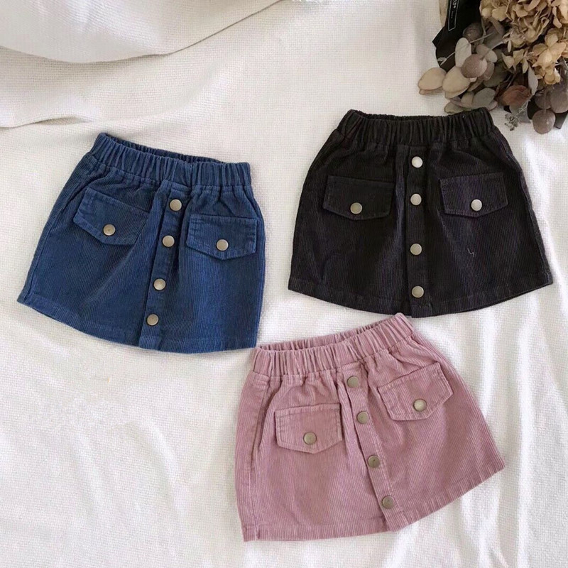 DFXD Newest 2018 Autumn Toddler Girls Corduroy Skirts Korean Baby Clothes Fashion Soild Color Button Princess Skirt For 2-8Years