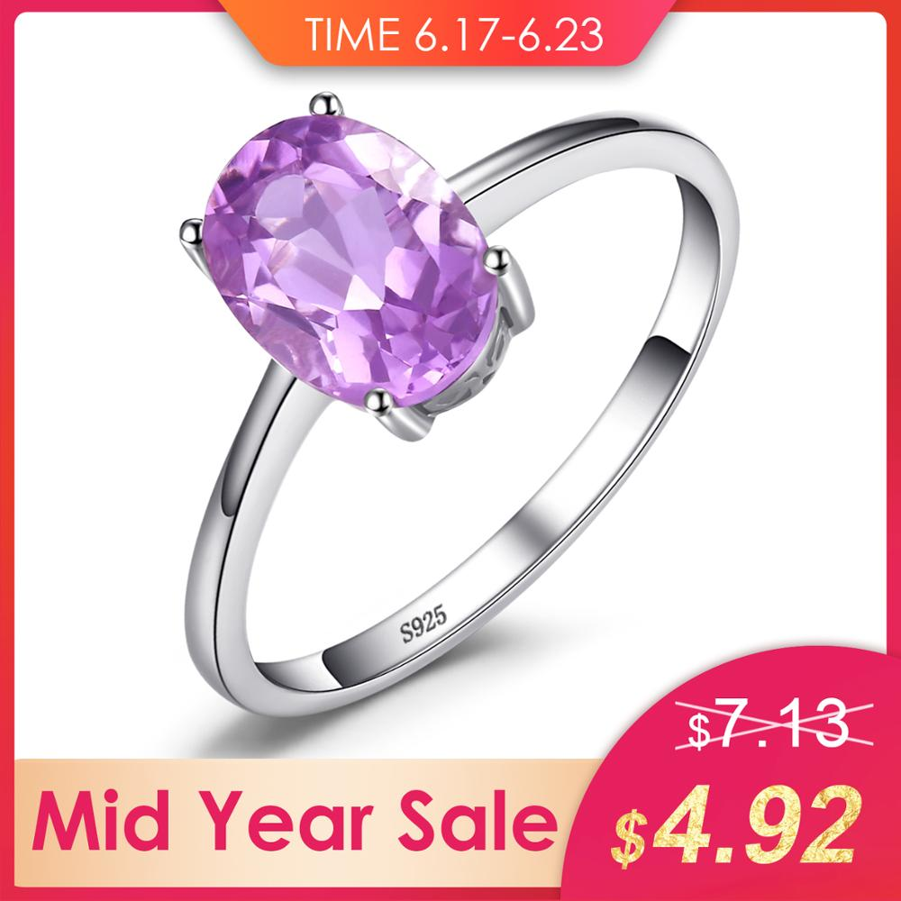 JewelryPalace Oval 1.1ct Natural Purple Amethyst Birthstone Solitaire Ring Solid 925 Sterling Silver Women Fashion Fine JewelryJewelryPalace Oval 1.1ct Natural Purple Amethyst Birthstone Solitaire Ring Solid 925 Sterling Silver Women Fashion Fine Jewelry