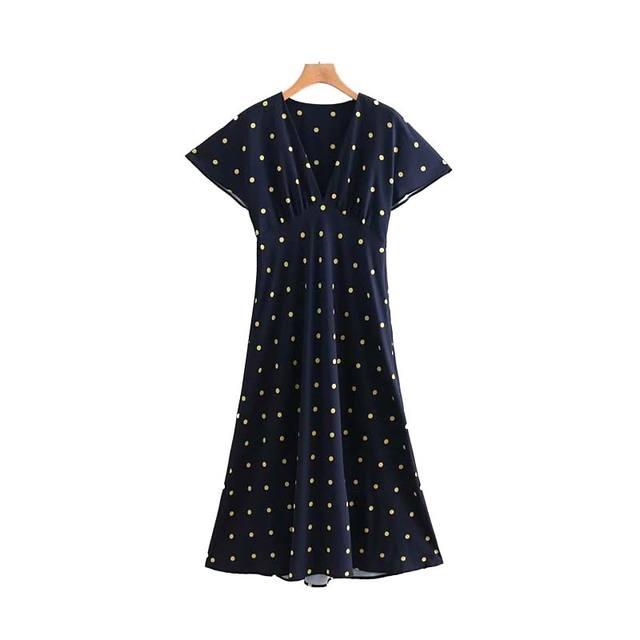 Women Retro Dot Pattern Maxi Dress V Neck Slim Fit Short Sleeve High Waist Chic Long Dresses Qb345