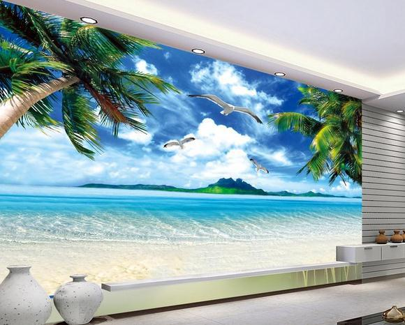 Wall Paper Ocean Beach Murals Scenery Mural Wallpaper Stickers Papel De Parede Wallpapers2017991 In Wallpapers From Home