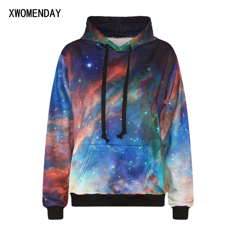 55b1664e77 Holographic Starry Sky Printed Hoodies Women Clothes 2019...