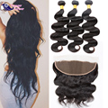 2016 New Brazilian Body Wave Bundles With Full Lace Closure 13x4 Human Hair Frontal Closure With Bundles Deal