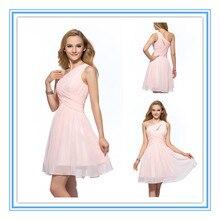 2015 New Style One Shoulder Simple Chiffon Knee Length Peach Color Bridesmaid Dress (DVBM-1001)