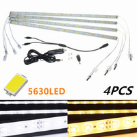 4 шт. 50 см 5630 Светодиодные полосы света Водонепроницаемый IP65 бар свет кемпинг авто Караван Лодка лампы Pure теплый белый DC12V