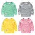 2017 la primavera y el otoño bebé muchachas de la camiseta camiseta de los muchachos de impresión ancla de color caramelo bebé de manga larga Camisetas de algodón 100%