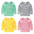 2017 spring and autumn baby t-shirt girls boys tee anchor print baby candy color long-sleeve T-shirts 100% cotton
