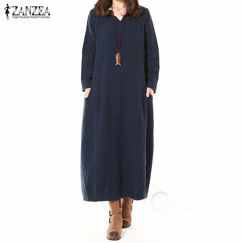 2017 zanzea women fashion autumn cotton linen dress long for Long sleeve casual wedding dresses