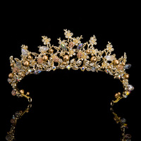 Luxury Handmade Gold Plated Crystal Floral Bridal Tiara With Earrings Wedding Crown For Bride Wedding Pageant