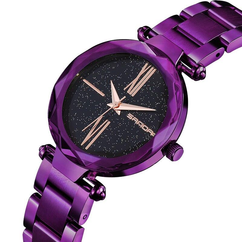 Vestido de Luxo em Aço Relógio de Pulso de Quartzo Mujer à Prova Sanda Moda Senhoras Inoxidável Mulheres Pulseira Relógios Relojes Pará d' Água 244