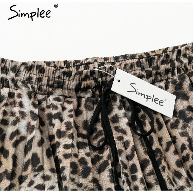 Simplee Vintage leopard print pleated skirts women punk rock korean skirt streetwear Drawstring elastic waist ladies midi skirt 6