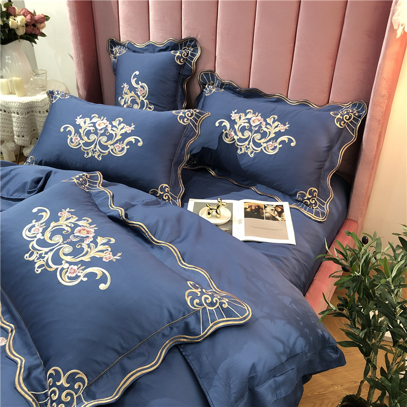 New Luxury Gold Royal Embroidery 60S Egyptian Cotton Bedding Set Blue Pink Purple Green Duvet Cover Bed sheet Linen Pillowcases in Bedding Sets from Home Garden