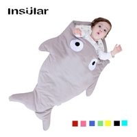 INSULAR 0 12 Month Thicken Baby Shark Winter Sleeping Bag Newborn kids Sleep Sack 100% Cotton Stroller Cover Blanket