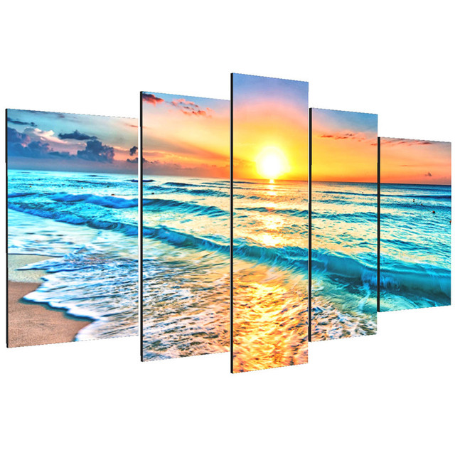 Artwork 5 Panels Wall Art Canvas Seascape Paintings Beach Wall Decor Sea Wall  Art Picture Wall
