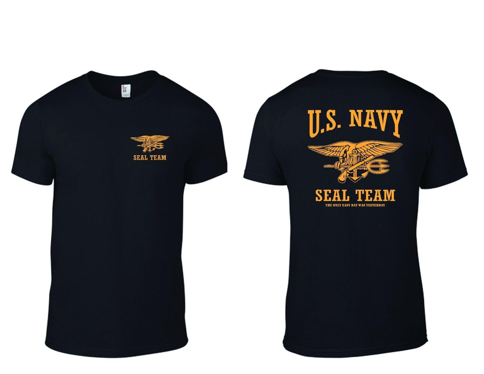 Camiseta da equipe do selo da marinha dos eua apenas o dia fácil foi ontem b/y camiseta impressa t camisas de manga curta hipster t mais tamanho