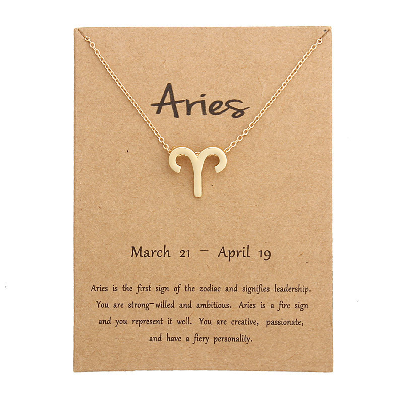 Fashion12 Constellation Pendant Necklaces Gemini Taurus Necklace Birthday Gifts Message Card for Women Girl