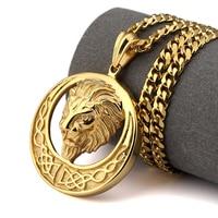 NYUKI New Gold Lion Head Pendant Necklace Punk Rap Style High Quality Fashion Hiphop Franco Gold Chain For Men Bijouterie
