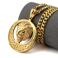 NYUKI New Gold Lion Head Pendant Necklace Punk Rap Style High Quality Fashion Hiphop Franco Gold