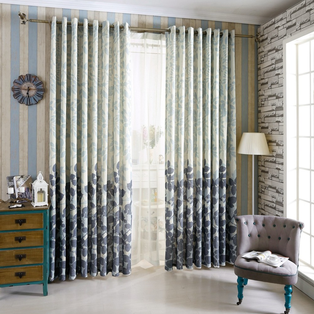 China Blue Curtains Us 14 9 Tree Curtains Linen For Windows Blue Curtains Home Kitchen Blinds Linen Gauze Curtains Design Leaves Living Room Curtains Drapes In Curtains