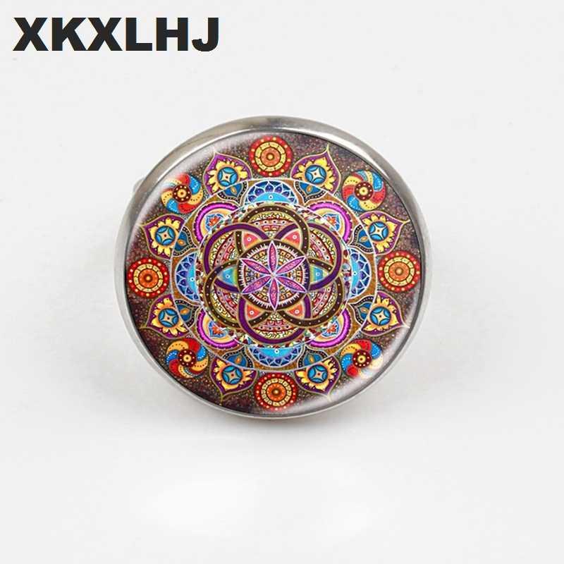 XKXLHJ nowy Mandala pierścień Chakra OM biżuteria pani szkło okrągły pierścień Zen prezent biżuteria Retro