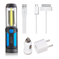 USB Rechargeable Lamp COB LED Flashlight Outdoor Work Stand Light Magnet HOOK Mobile Power For Phone