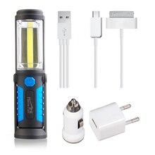 Usb recargable lámpara cob led linterna al aire libre destacan el trabajo lanterna luz gancho magnético de energía para el teléfono móvil ee. uu./ue/uk plug