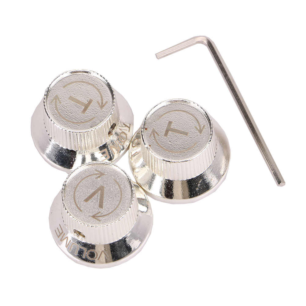 Homeland 4pcs Metal Bass Guitar Volume Tone Control Knobs Dome Knobs Guitar Parts & Accessories + Tool