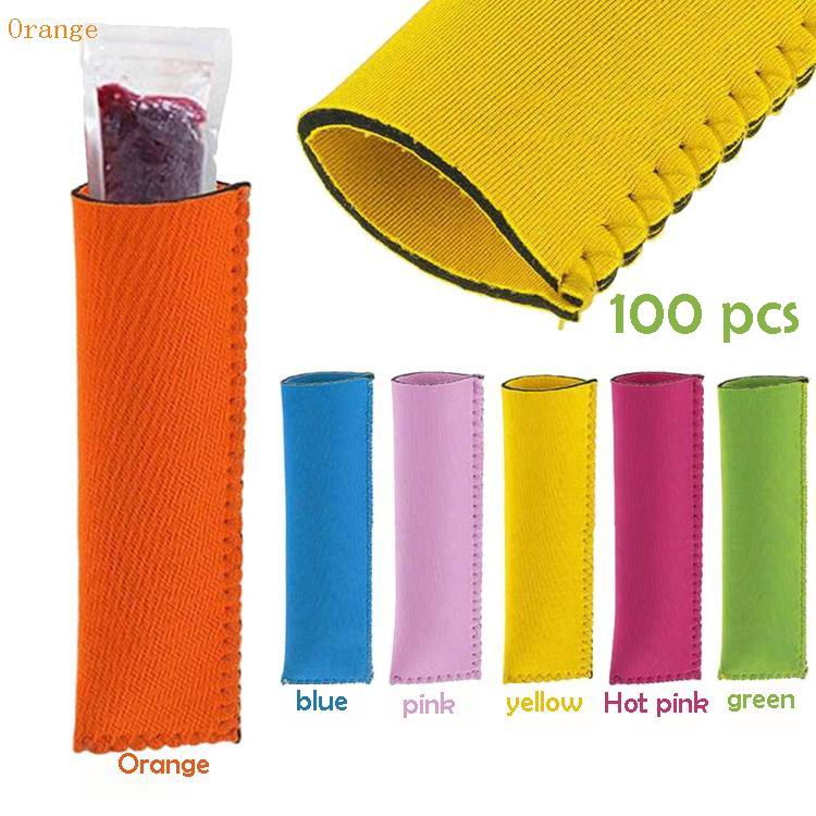 100 pcs Neoprene Popsicle Holder Freezer Icy Pole Ice Lolly Sleeve Protector Ice Block Holder Ice