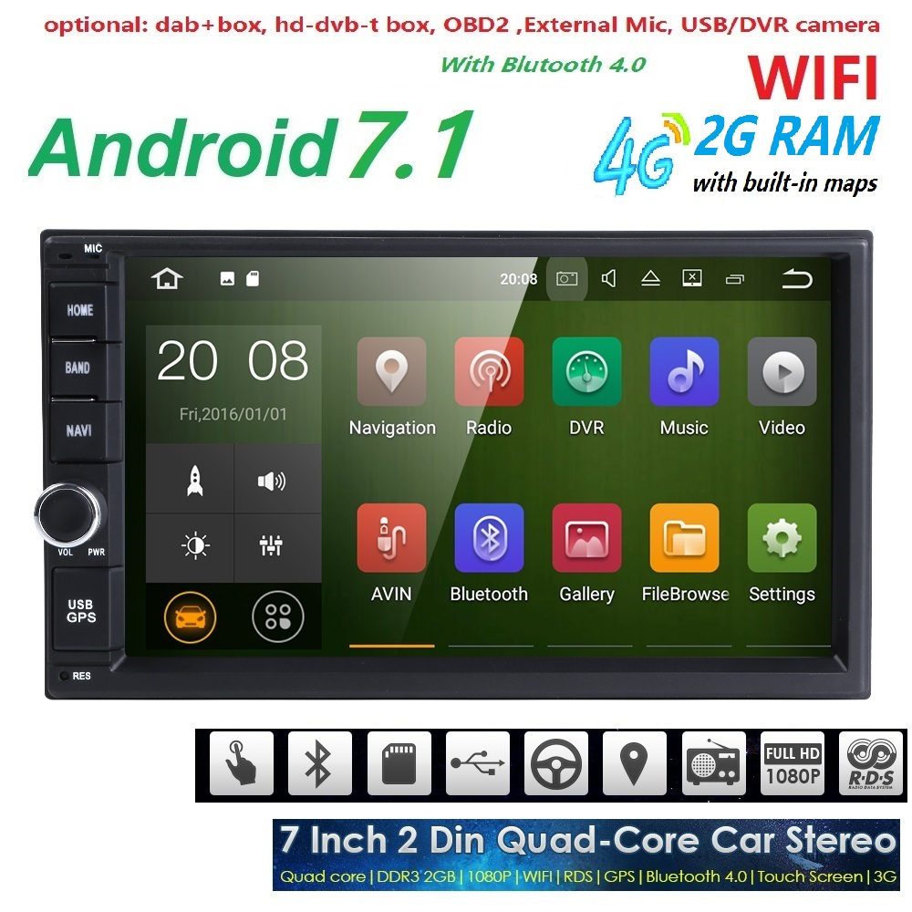 Hizpo Quad Octa Core 7 2 Din Android 7 1 font b Car b font NO