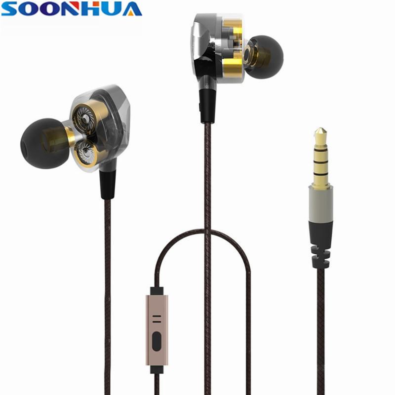 SOONHUA 3.5mm Wired Earphone Dual Moving Coils Stereo In-Ear Headphone Sports HiFi Earbuds Headset With Handsfree Mic For Xiaomi rock y10 stereo headphone earphone microphone stereo bass wired headset for music computer game with mic