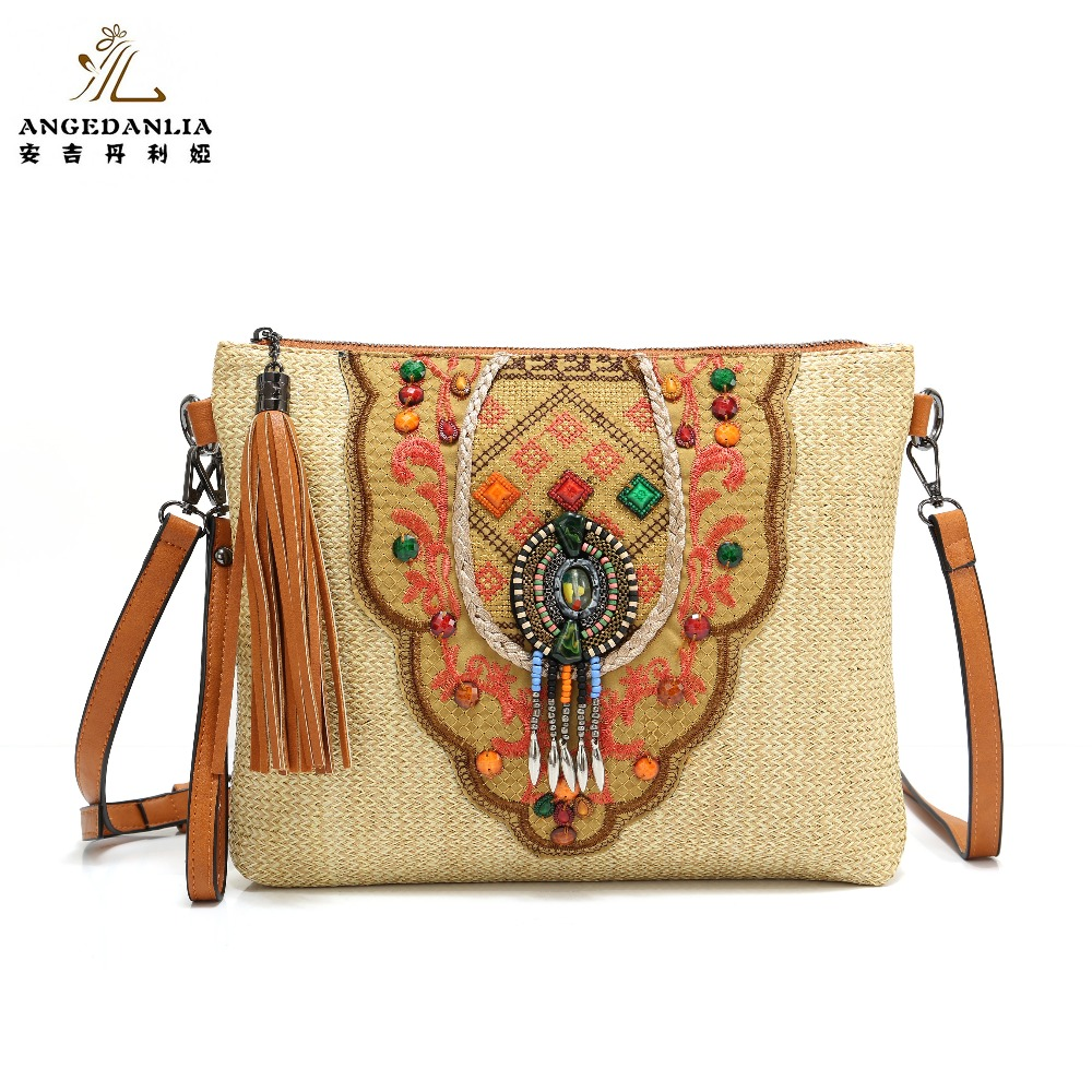 Women envelope Shoulder Bag National handbag Straw fabric Handmade Embroidered Bohemian Women Ethnic Cross Body Handbag 2016 summer national ethnic style embroidery bohemia design tassel beads lady s handbag meessenger bohemian shoulder bag