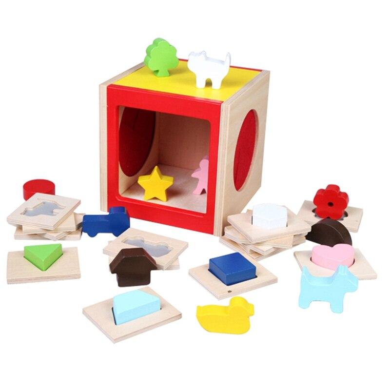 Educatief Houten Speelgoed Geometrische Vorm Kleur Doos Vroeg Leren Baby Kids Verjaardagscadeau Vouw-Weerstand