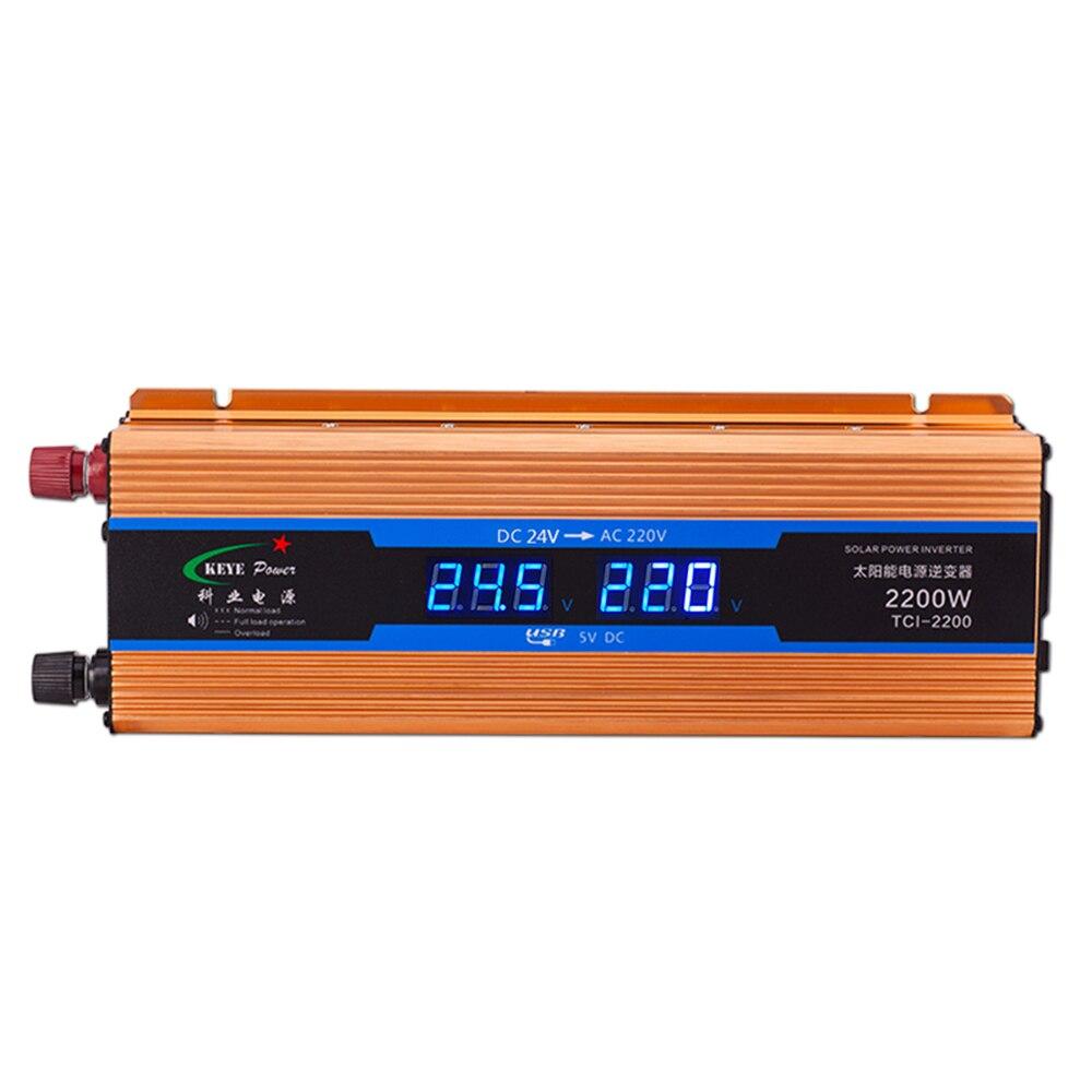 Inverseur de voiture 2200W 24 V 220 V convertisseur de tension 24v à 220v chargeur de voiture Volts affichage cc à AC 50Hz CY924