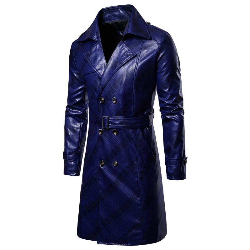Men Trench Coat Homme  Mens New Fashion Long PU leather Trench Coat Autumn Long Jacket For Men Slim Fit Winter Warm Coat Mens 3