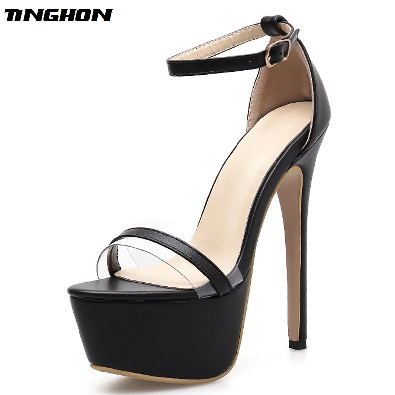TINGHON  Summer Sexy Women Sandals Shoes Snake Print Stiletto Super 16cm High Heels Platform ankle-strap Size 35-42