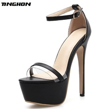 TINGHON  Summer Sexy Women Sandals Shoes Sexy Snake Print Stiletto Super 16cm High Heels Platform ankle-strap Sandals Size 35-42 цена и фото