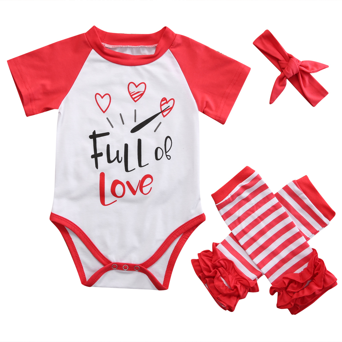 3pcs sets Infant Toddler Kids Baby Girl Clothes Short Sleeve T-shirts Romper+Leg Warmers+Headband Newborn Summer Cotton Sunsuits
