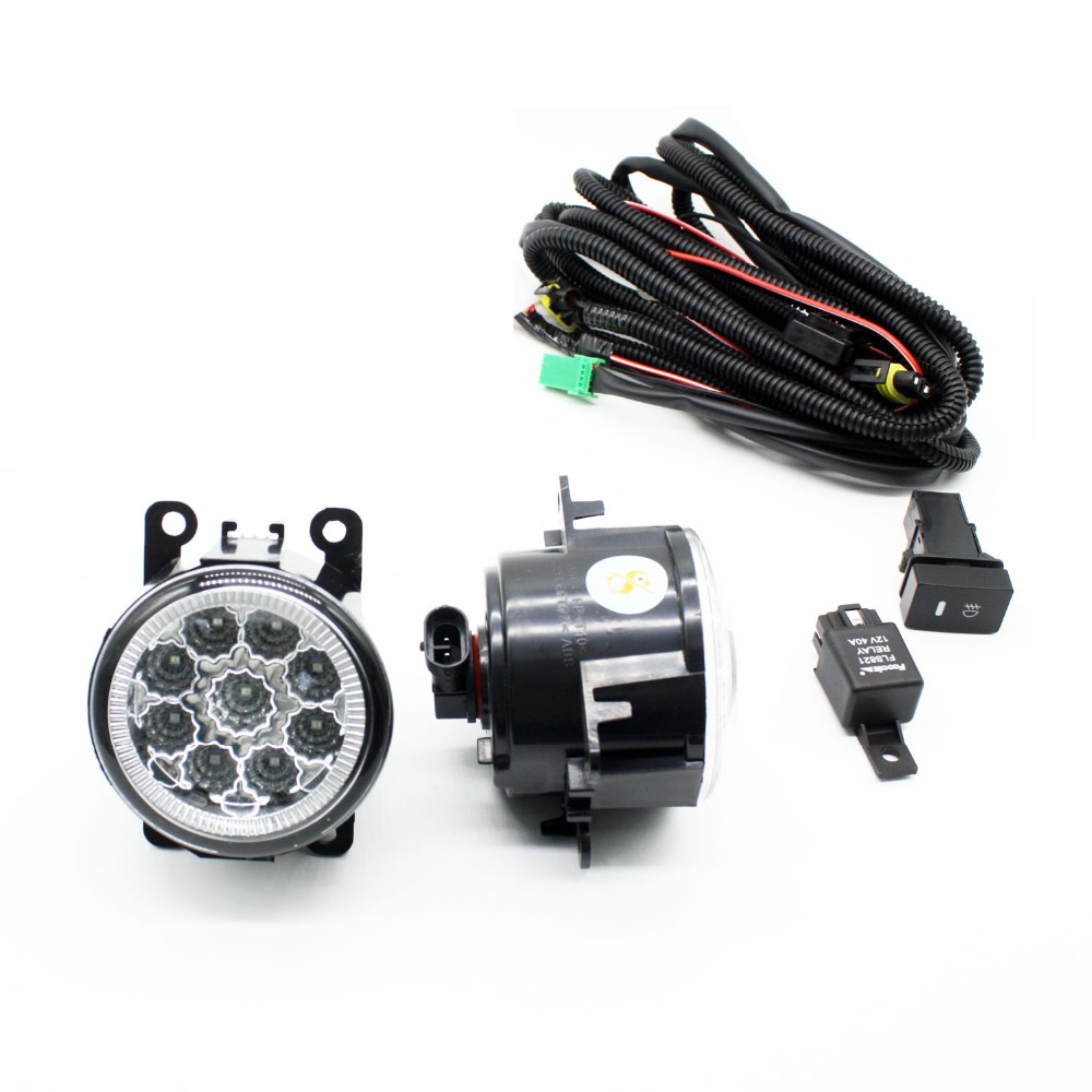 H11 Wiring Harness Sockets Wire Connector Switch + 2 Fog Lights DRL Front Bumper LED Lamp Blue For Renault LOGAN Saloon LS 04- for subaru outback 2010 2012 h11 wiring harness sockets wire connector switch 2 fog lights drl front bumper 5d lens led lamp