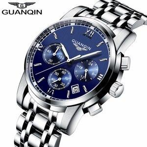 Image 5 - GUANQIN Relogio Masculino גברים שעון עסקי גברים יוקרה מותג קוורץ שעון גברים 19018 שעונים מלא נירוסטה שעוני יד,