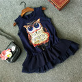 New fashion girls navy blur owl dress casual summer dress for kids children clothing with lace