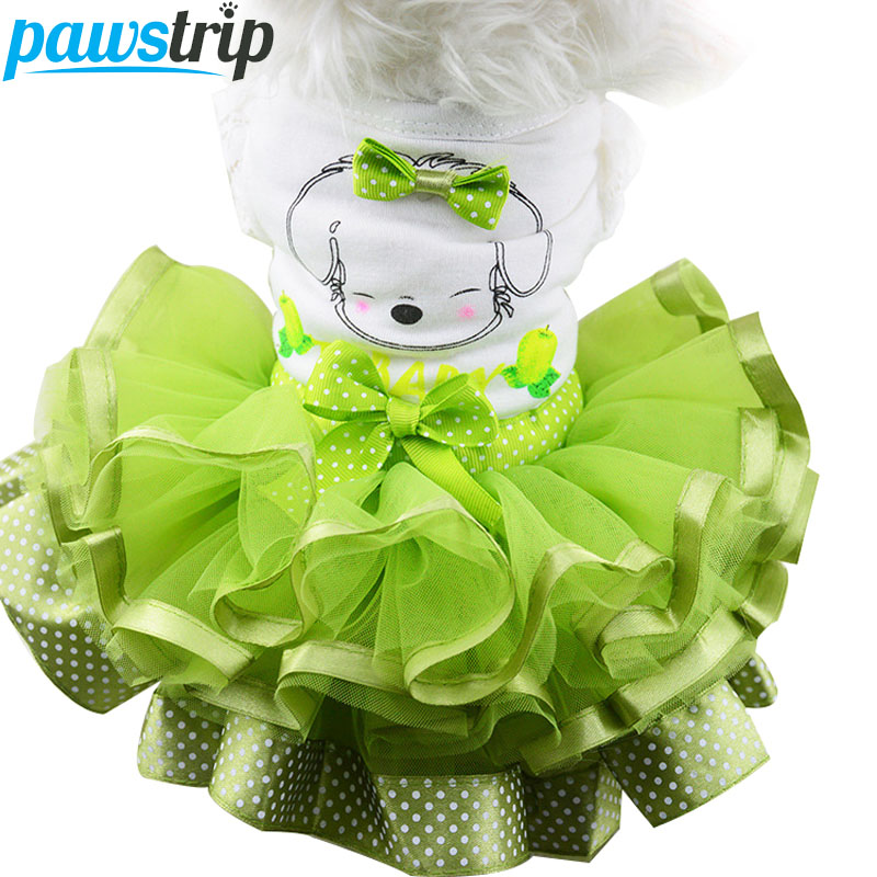 Cute Bow Dog Dress Tutu Skjørt Summer Puppy Clothes Princess Dog Wedding Dress XS-XXL