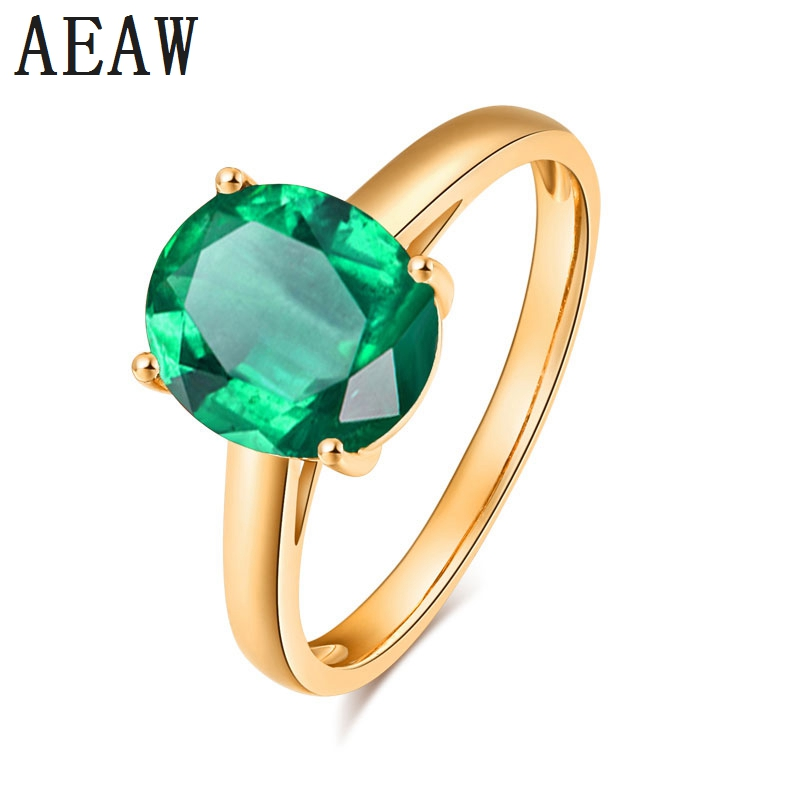 AU585 14K Yellow Gold 5.8CT Lab Created AAA Colombian Emerald Solitaire Engagement Wedding Ring 4-Prong Setting High PolishingAU585 14K Yellow Gold 5.8CT Lab Created AAA Colombian Emerald Solitaire Engagement Wedding Ring 4-Prong Setting High Polishing