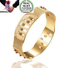 OMHXZJ Wholesale Personality Fashion OL Woman Girl Party Wedding Gift Gold Geometric Hollow 18KT Gold Cuff Bangle Bracelet BR205 geometric hollow out statement cuff bracelet